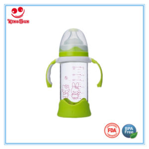 Shock-Proof Wide Neck Glass Feeding Bottle with Silicone Base pictures & photos