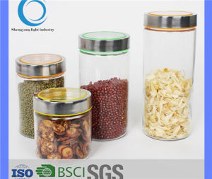 Glass Jar 500ml-2200ml Crystalized Glass Jar Container with Metal Lid pictures & photos