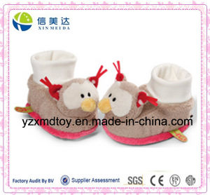 Winter Warm Fluffy Lovely Owl Plush Slippers Baby Shoes pictures & photos