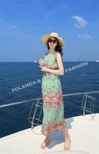 Fashion Printed Chiffon Ladies Long Dress/Beach Dress