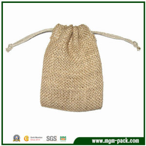 China Factory Price Light Brown Flax Drawstring Bag pictures & photos