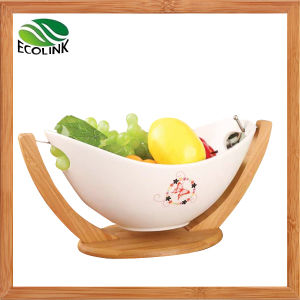 Decorative Ceramic Fruit Bowl with Bamboo Rack Stand pictures & photos