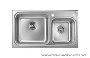 Cacar High Quality Under Counter Kitchen Double Sink (CCL-7642B) pictures & photos