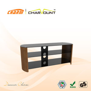 Three Shelves Tempered Glass & Wooden Western-Style Modern TV Stand (CT-FTVS-M201B) pictures & photos