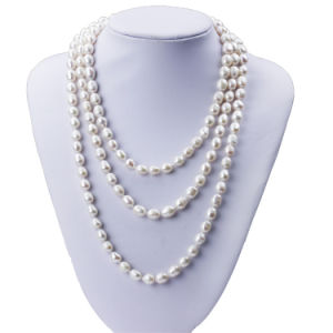 Snh 8mm Rice A Grade Long Pearl Necklace Jewelry for Women pictures & photos