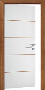 Tubular Partical Board White Flush Door with Metal Strips pictures & photos