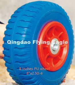 """8 Inches 8""""X2.50-4 Flat Free PU Foam Wheel, Trolley Wheel pictures & photos"""