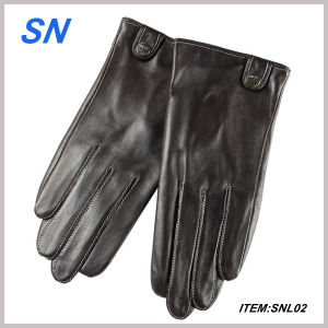 Genuine Black Leather Touch Screen Gloves pictures & photos