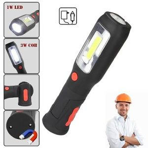 COB LED Rechargeable Flexible Inspection Lamp Torch Work Light Magnetic End Dual