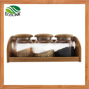 Glass Sealed Food Storage Jar 3PCS Set with Bamboo Stand pictures & photos