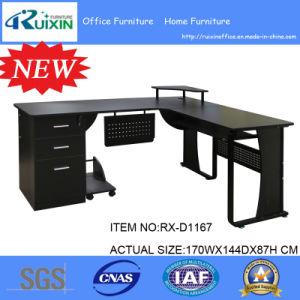 Wood L-Shape Corner Computer Desk PC Laptop Table Workstation Home Office Black pictures & photos