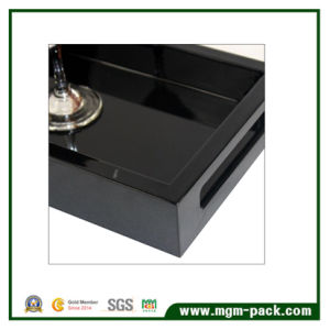 Elegant Hight Glossy Black Lacquered Wooden Tray for Hotel pictures & photos