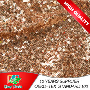 New Wholesale Gold Sequins Fabric, Mesh with Sequins Embroidery Fabric for Party Dress, Decoration, Banquet pictures & photos