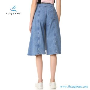 Blue Women Fashion Asymmetrical Overlay Wide Legs Jeans Pants Denim Shorts From Jeans Fatory pictures & photos
