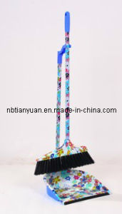 Plastic Broom and Dustpan with Long Handle