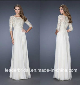 Chiffon Wedding Dress 3/4 Sleeves Lace Bodice Bridal Evening Gown W15248 pictures & photos