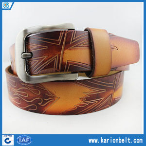 Unique Men′s Embossed Split Leather Belt (40-13070)