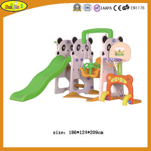 2015 Kids Plastic Panda Slide and Swing with Basketball Stand