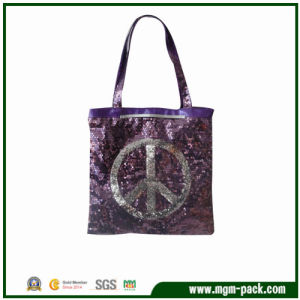 New Design Purple Canvas Handbag with Sequins and Long Handles pictures & photos
