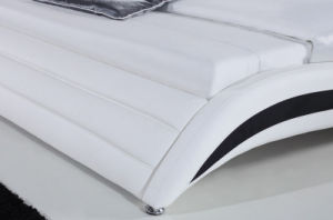 Hot Sale Modern King Size Bed with White Leather (HC021) pictures & photos