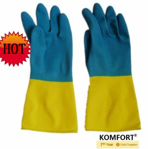 Double Color Safety Work Industrial Latex Glove (JMC-425A) pictures & photos
