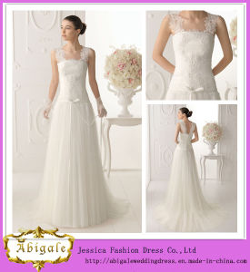 2014 New Designs Unique White Sheath V Neck Sheer Lace Straps V Back Floor Length Long Tulle Casual Wedding Dresses pictures & photos