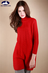 Cashmere High Neck Cable Pullover with Ribs pictures & photos