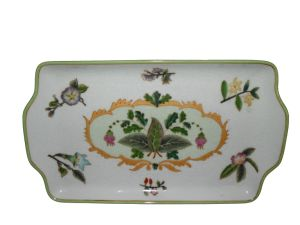 Elegant Shape with Flower Pattern Saucer Hand Painted Craft Ceramic (FW1029)