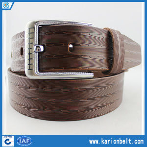 Men′s Split Leather Belt with Embossed Strap and Bright White Buckle, Various Color Are Available (40-13130)