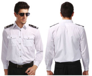 Fashion Best Sale Long Sleeves White Policemen′s Security Guard Uniform Shirts pictures & photos