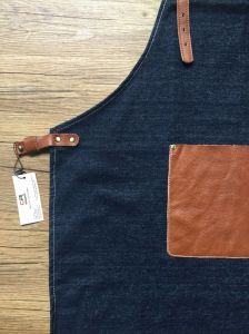 Custom Womens Denim Shop Apron with Leather pictures & photos