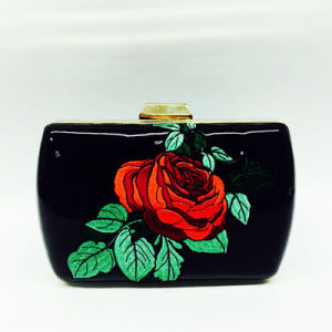 Slap up Printing clutch Black Handbag Fashion Eveningbag pictures & photos