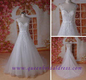 New Styles Cap Sleeve Wedding Dress with Gorgeous Hand Work Beaded