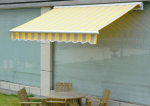 New Motorzied Semi Cassette Retractable Awnings with Solution Dyed Acrylic Fabric