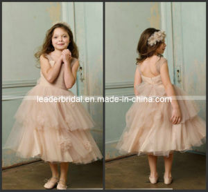 Champagne Junior Prom Party Dress Stage Performance Gown Wedding Flower Girl Dress F13128 pictures & photos