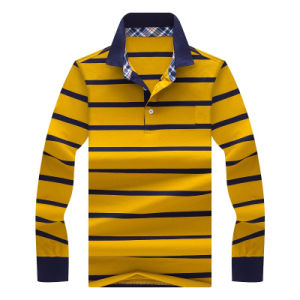 Customized High Quality 100% Polyester Man′s Long Sleeve Strips Polo Shirt pictures & photos