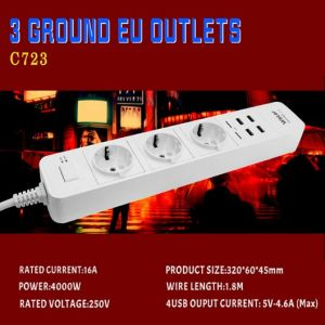 Hot Sale EU 3 Pin Plug Power Strip with USB Outlets 250V 16A pictures & photos