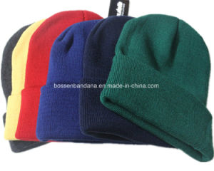 Factory Produce Acrylic Cuff Plain Winter Knitted Beanie pictures & photos