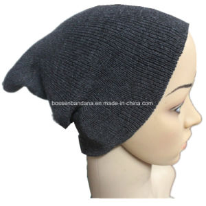 Factory Produce Black Acrylic Slouchy Long Knit Fold Beanie pictures & photos