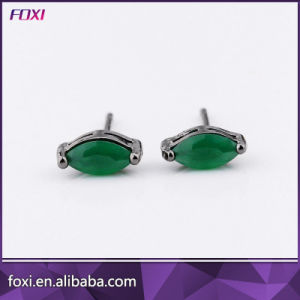 New Wholesale Single Stone Stud Glass Gemstone Brass Jewelry Earrings pictures & photos