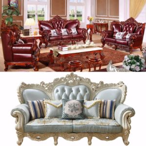 Wooden Leather Sofa for Living Room Furniture (511) pictures & photos