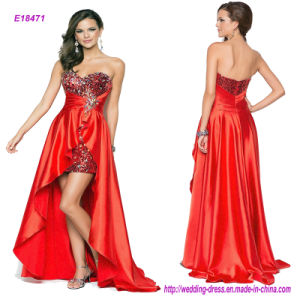 Strapless and Backless Pleats Beading Prom Dress pictures & photos