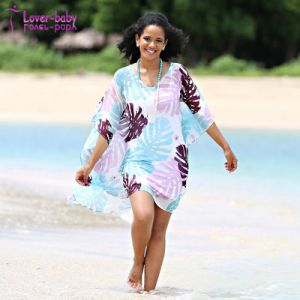 2018 Latest Women Beach V-Neck Cover up Floral Print Chiffon Dress pictures & photos