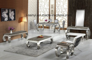 Modern Tempered Glass or Wood Top Stainless Steel Dining Table pictures & photos