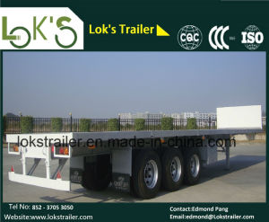 40 Feet Twin Tyre Flatbed Cargo Semi Trailer pictures & photos