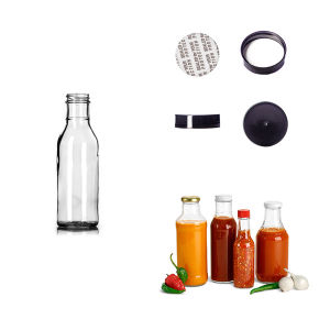 Glass Bottles, 12 Oz Clear Glass Barbecue Sauce Bottles W/ Black Ribbed Lined Caps