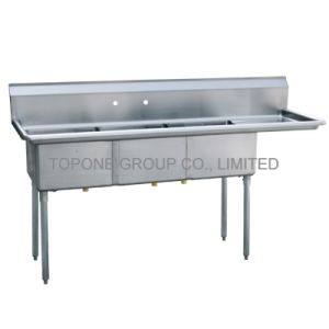 3 Compartments Kitchen Stainless Steel Bench