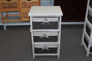 Wooden cabinet with 3 paper rope drawers & lining