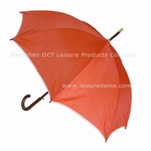 "23"" Wood Straight Umbrella with Orange Color (OCT-YL026) pictures & photos"