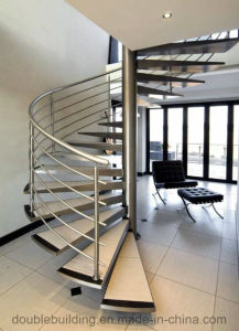 Villa Spiral Stair Design with Stainless Steel Stair Railing Solid Wood Tread pictures & photos
